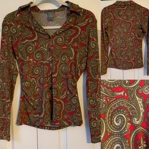 Ann Taylor Red & Brown Patterned Button Down - SP